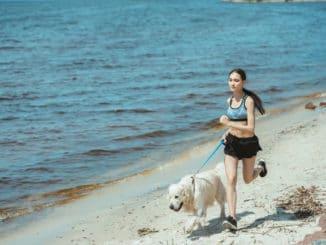 Frau joggt mit Hund am Strand